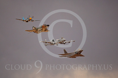 HF 00060 P-51 Mustang, F-4 Phantom II, A-10 Thunderbolt II, and F-22 Raptor by Peter J Mancus