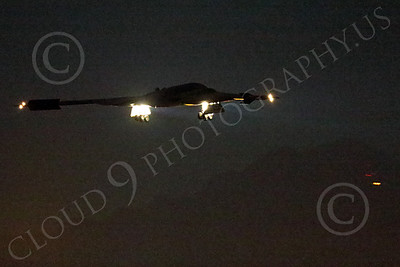 WWAN 00021 A Northrop B-2 Spirit USAF stealth strategic bomber lands at Nellis AFB after a night Red Flag mission military airplane picture by Peter J Mancus