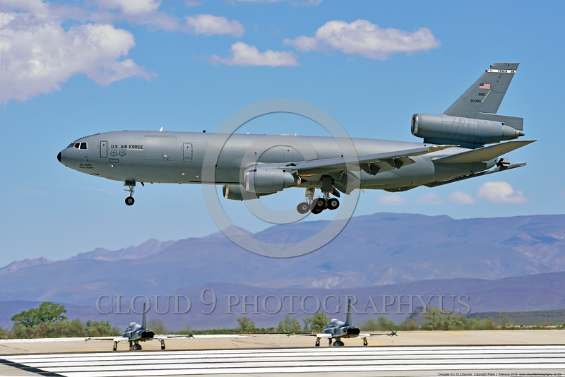 KC-10USAF 00023 A Douglas KC-10 EXTENDER USAF 30080 from Travis AFB jet aerial refueler and cargo transport aircraft lands at NAS Fallon 4-2016 military airplane picture by Peter J  Mancus