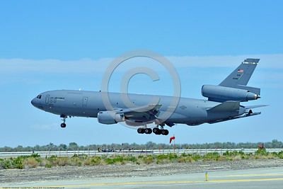 KC-10USAF 00009 A Douglas KC-10 EXTENDER USAF 30080 from Travis AFB jet aerial refueler and cargo transport aircraft lands at NAS Fallon 4-2016 military airplane picture by Peter J  Mancus