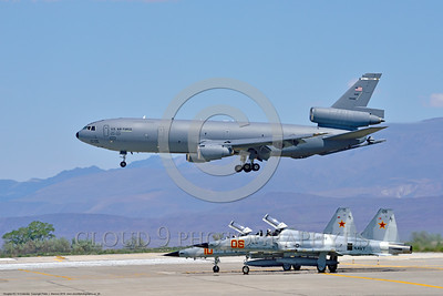 KC-10USAF 00024 A Douglas KC-10 EXTENDER USAF 30080 from Travis AFB jet aerial refueler and cargo transport aircraft lands at NAS Fallon 4-2016 military airplane picture by Peter J  Mancus