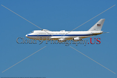 "E-4USAF 004 A flying Boeing E-4B Advanced Airborne Command Post ""Doomsday Plane"" is a USAF militarized version of Boeing's 747-200, has a maximum take-off weight of 800,000 pounds, 2017, military airplane picture by Carl E Porter     DONEwt"