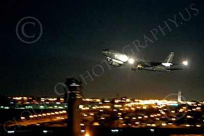 WWAN 00022 A Boeing E-8 Joint STARS airborne ground battle surveillance aircraft climbs out after taking off from Nellis AFB for a night Red Flag mission military airplane picture by Peter J Mancus