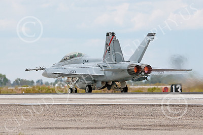 AB-F-18USN-S 00031 A Boeing F-18F Super Hornet jet fighter USN VFA-41 Black Aces takes-off in afterburner at NAS Fallon 7-2014 military airplane picture by Peter J Mancus