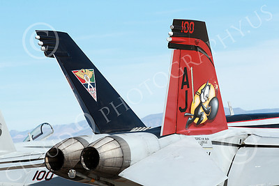 Boeing F-18E-USN 00023 Close up of tail of Boeing F-18E Super Hornet jet fighter USN VFA-31 TOMCATTERS USS George H W Bush AJ code NAS Fallon military airplane picture by Peter J Mancus