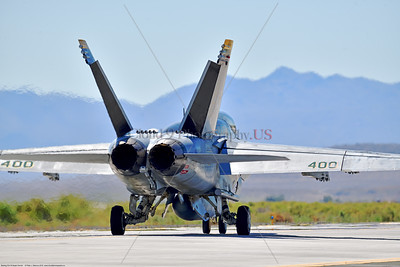 F-18E-USN-VF-105 008 A Boeing F-18E Super Hornet jet fighter USN 166650 VF-105 GUNSLINGERS CAG USS Dwight Eisenhower AC code taxis at NAS Fallon 7-2019, military airplane picture by Peter J  Mancus     854_5146     Dwt