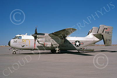 C-2 00053 A static Grumman C-2 Greyhound USN 152791 VRC-30 PROVIDERS RW code NAS Fallon 2-1986 military airplane picture by Michael Grove, Sr