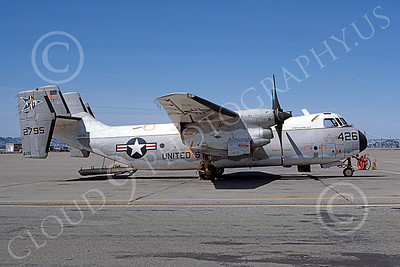 C-2 00071 A static Grumman C-2 Greyhound USN 152795 RG code SPIRIT OF SUBIC CITY NAS Alameda 4-1977 military airplane picture by Michael Grove, Sr