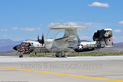 E-2USN-VAW-113 003 A colorful Grumman E-2C Hawkeye USN 165819 VAW-113 BLACK EAGLES USS Carl Vinson on NAS Fallon's runway ready for take-off 4-2016 military airplane picture by Peter J  Mancus