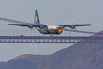 BA - C-130 00012 Lockheed C-130 Hercules Blue Angels USN flys by the Golden Gate Bridge in San Francisco by Peter J Mancus