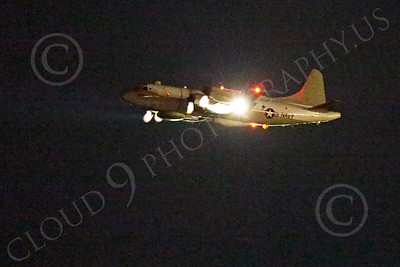 WWAN 00018 A Lockheed EP-3E Aries signals recon electronic warfare aircraft flying at night military airplane picture by Peter J Mancus