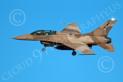 TOPG 00032 A two seat US Navy TOP GUN Lockheed Martin F-16 Fighting Falcon, 920459, banks to land at NAS Fallon, Nevada, by Peter J Mancus