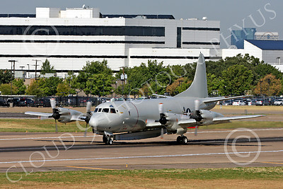 P-3USN 00025 A US Navy Lockheed P-3 Orion with a large pod at Love Field in Dallas, military airplane picture, by Tim Perkins
