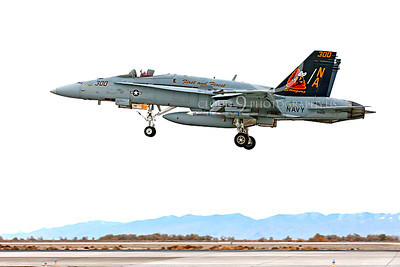CAG 00038 A colorful McDonnell Douglas F-18C Hornet USN 164257 VFA-113 STINGERS with missiles lands at NAS Fallon 11-2013 military airplane picture by Peter J Mancus