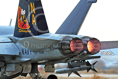 AB-F-18USN-L 00113 A tight crop of the tail of a colorful McDonnell Douglas F-18C Hornet USN 164257 VFA-113 STINGERS with missile in afterburner at NAS Fallon 11-2013 military airplane picture by Peter J Mancus