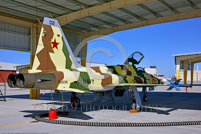 "F-5USN-VFC-13 0005 A static under an opened hangar Northrop F-5E Freedom Fighter USN 761536 VFC-13 SAINTS jet fighter in ""Banana"" livery at NAS Fallon 4-2016 military airplane picture by Peter J  Mancus"