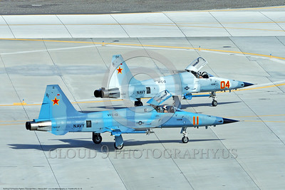 "F-5USN-VFC-13 0015 Two Northrop F-5E Freedom Fighters USN jet fighters 761537 and 761551 VFC-13 ""SAINTS"" taxi at NAS Fallon 3-2017 military airplane picture by Peter J Mancus     DONEwt"