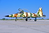 "F-5USN-VFC-13 0009 A Northrop F-5E Freedom Fighter USN 761536 VFC-13 SAINTS jet fighter in ""Banana"" livery taxis for take-off at NAS Fallon 4-2016 military airplane picture by Peter J  Mancus"