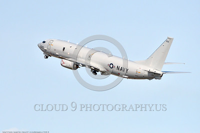 P-8USN 00008 A Boeing P-8 Poseidon USN multi-mission aircraft climbs out after take off at NAS Fallon 3-2017 military airplane picture by Peter J Mancus