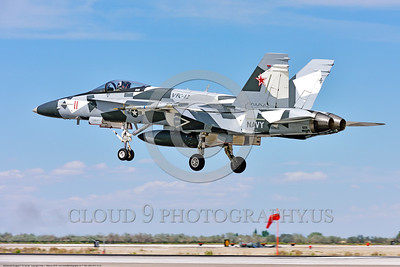 F-18A-USN-VFC-12 0010 A landing McDonnell Douglas F-18A USN 162863 VFC-12 FIGHTING OMARS adversary jet fighter in artic splinter livery lands at NAS Fallon 4-2016 military airplane picture by Peter J  Mancus