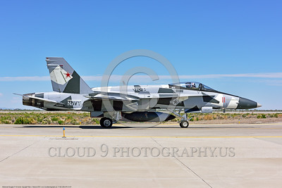 F-18A-USN-VFC-12 0007 A McDonnell Douglas F-18A USN 162863 VFC-12 FIGHTING OMARS adversart jet fighter in artic splinter livery taxis at NAS Fallon 4-2016 military airplane picture by Peter J  Mancus