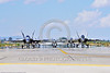 F-18A-USN-0001 Five USN McDonnell Douglas F-18A Hornets taxi for take-off at NAS Fallon 4-2016 ahed of one Boeing F-18 Super Hornet military airplane picture by Peter J  Mancus