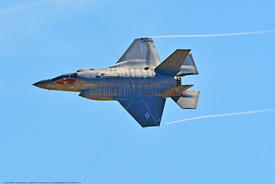 F-35B-VMFA-211 00018 A flying Lockheed Martin F-35B stealth jet fighter USMC 168840 VMFA-211 AVENGERS with wing tip vortex MCAS Miramar 9-2016 military airplane picture by Peter J  Mancus