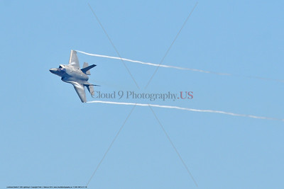 F-35B-VMFA-211 00020 A flying Lockheed Martin F-35B stealth jet fighter USMC 168840 VMFA-211 AVENGERS with wing tip vortex MCAS Miramar 9-2016 military airplane picture by Peter J  Mancus