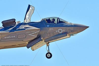 F-35B-VMFA-211 00046 A flying Lockheed Martin F-35B stealth jet fighter USMC VMFA-211 AVENGERS in VSTOL landing mode MCAS Miramar 9-2016 military airplane picture by Peter J  Mancus