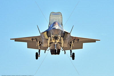 F-35B-VMFA-211 00012 A frontal view of a hoovering Lockheed Martin F-35B Lightning II USMC 168339 stealth jet fighter VMFA-211 AVENGERS CF code in VSTOL mode for landing MCAS Miramar 9-2016 military airplane picture by Peter J  Mancus