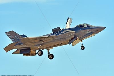 F-35B-VMFA-211 00028 A flying Lockheed Martin F-35B stealth jet fighter USMC 168840 VMFA-211 AVENGERS in VSTOL landing mode MCAS Miramar 9-2016 military airplane picture by Peter J  Mancus