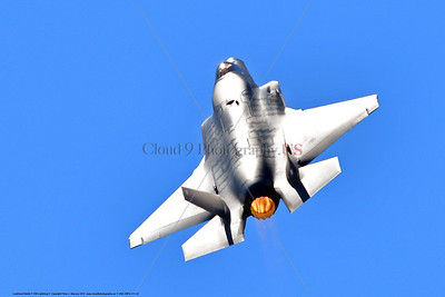 F-35B-VMFA-211 00042 A flying Lockheed Martin F-35B stealth jet fighter USMC 168840 VMFA-211 AVENGERS in afterburner MCAS Miramar 9-2016 military airplane picture by Peter J  Mancus