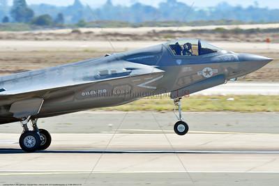 F-35B-VMFA-211 00001 A tight crop of a landing Lockheed Martin F-35B Lightning II stealth jet fighter USMC VMFA-211 AVENGERS MCAS Miramar 9-2016 military airplane picture by Peter J  Mancus