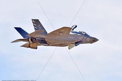 F-35B-VMFA-211 00026 A flying Lockheed Martin F-35B stealth jet fighter USMC 168840 VMFA-211 AVENGERS in VSTOL landing mood MCAS Miramar 9-2016 military airplane picture by Peter J  Mancus