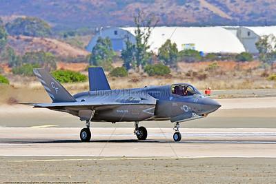 F-35B-VMFA-211 00009 A Lockheed Martin F-35B Lightning II USMC 168339 stealth jet fighter VMFA-211 AVENGERS CF code take-off roll MCAS Miramar 9-2016 military airplane picture by Peter J  Mancus