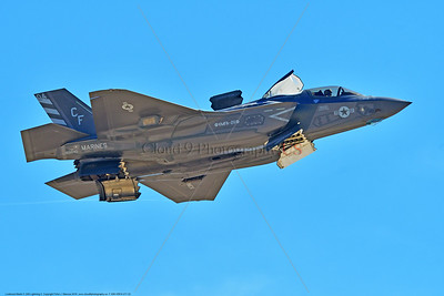 F-35B-VMFA-211 00022 A flying Lockheed Martin F-35B stealth jet fighter USMC 168840 VMFA-211 AVENGERS in VSTOL hoover mode for landing MCAS Miramar 9-2016 military airplane picture by Peter J  Mancus