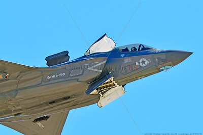 F-35B-VMFA-211 00040 Close up of a flying Lockheed Martin F-35B stealth jet fighter USMC VMFA-211 AVENGERS in VSTOL landing mode MCAS Miramar 9-2016 military airplane picture by Peter J  Mancus