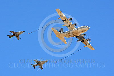 AAR 00112 A USMC Lockheed KC-130 Hercules and two USMC McDonnell Douglas AV-8B VSTOL jet attack aircraft prepare to aerial refuel airplane picture, by Peter J Mancus