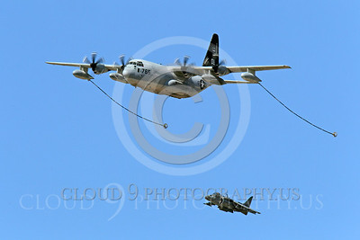AAR 00102 A USMC Lockheed KC-130 Hercules and two USMC McDonnell Douglas AV-8B VSTOL jet attack aircraft prepare to aerial refuel airplane picture, by Peter J Mancus