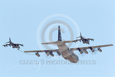 AAR 00109 A USMC Lockheed KC-130 Hercules and two USMC McDonnell Douglas AV-8B VSTOL jet attack aircraft prepare to aerial refuel airplane picture, by Peter J Mancus