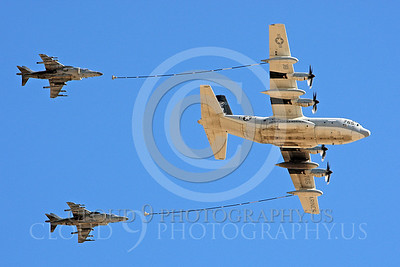 AAR 00111 A USMC Lockheed KC-130 Hercules and two USMC McDonnell Douglas AV-8B VSTOL jet attack aircraft prepare to aerial refuel airplane picture, by Peter J Mancus