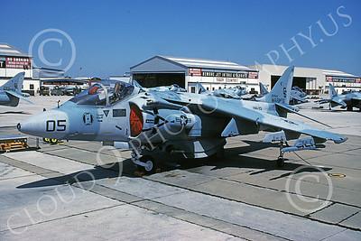 AV-8B-USMC 00011 A static McDonnell Douglas AV-8B Harrier USMC 162943 CG code VMA-231 ACE OF SPADES MCAS Cherry Pt 4-1991 airplane picture by David F Brown