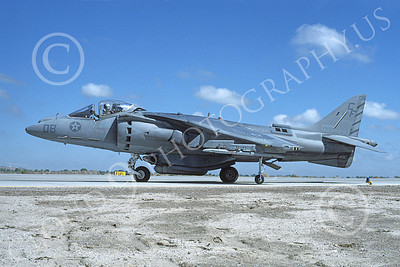 AV-8B-USMC 00037 A taxing McDonnell Douglas AV-8B Harrier USMC 164149 CF code VMA-  NAS Fallon 7-1994 airplane picture by Michael Grove, Sr