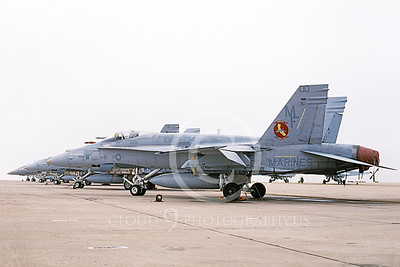 F-18USMC 00125 A static McDonnell Douglas F-18 Hornet USMC 161734 VMFA-134 SMOKE commanding officer's plane MCAS El Toro 5-1995 military airplane picture by Michael Grove, Sr