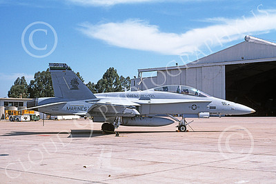 F-18USMC 00165 A static McDonnell Douglas F-18D Hornet USMC 164241 VMFA-121 GREEN KNIGHTS commanding officer's plane MCAS El Toro 4-1996 military airplane picture by Michael Grove, Sr