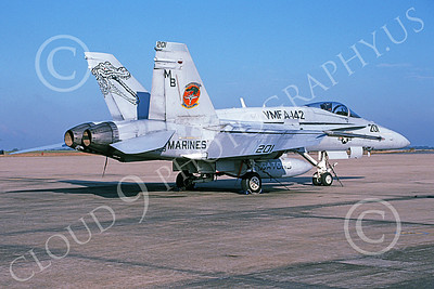 F-18USMC 00145 A static McDonnell Douglas F-18 Hornet USMC 162409 VMFA-142 GATORS NAF Washington 10-2003 military airplane picture by Bill Coughlin