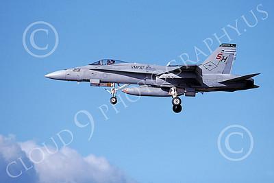 F-18USMC 00180 A landing McDonnell Douglas F-18 Hornet USMC VMFAT-101 SHARPSHOOTERS 4-1999, by Michael Grove, Sr