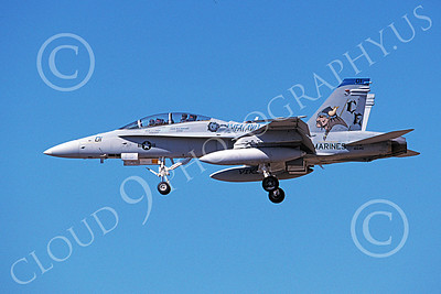 F-18USMC 00178 A landing McDonnell Douglas F-18D Hornet USMC 165410 VMFA(AW)-225 VIKINGS 8-1998 military airplane picture by Michael Grove, Sr