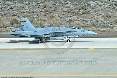 F-18-VMFA-312 0001 A McDonnell Douglas F-18A Hornet USMC jet fighter 164900 VMFA-312 CHECKERBOARDS USS Theodore Roosevelt taxis for take off at NAS Fallon 3-2017 military airplane picture by Peter J Mancus     DONEwt