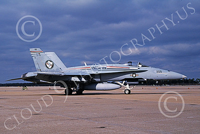 F-18USMC 00137 A static McDonnell Douglas F-18 Hornet USMC 163133 VMFA-115 SILVER EAGLES commanding officer's plane 4-2002 military airplane picture by David F Brown